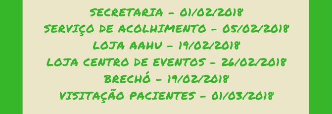 Fique ligado no calendário de retorno da AAHU 2018!